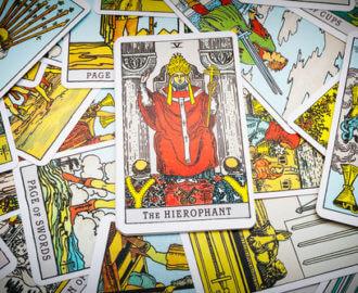 The hierophant tarot card.